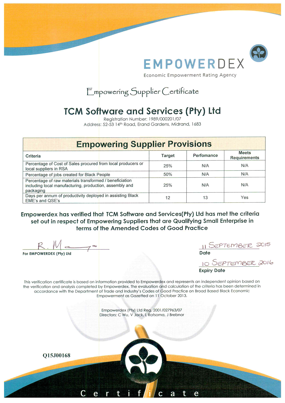 TCM Empowering Supplier Certificate
